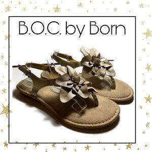 B.O.C. by Born Metallic Gold Thong Sandals 10